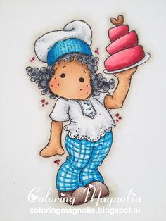 Coloring Magnolia Stamp 2013 With Love Collection - Tilda With Love Cake  Copics:  Haar: C09-C07-C05-C03  Huid: E25-E13-E11-E21-R22  Kleding: C03-C01-C00 -- B16-B14-B12-B01-B0000  Laarzen: E77-E74-E71-E70  Taart: R39-RV29-RV14-RV13 -- E29-E25-E23  Achtergrond Schaduw: W03-W01-W00