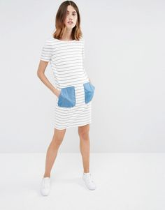 Vila Contrast Pocket Stripe T-Shirt Dress
