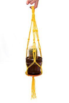 Hanging Planter Yellow Macrame Plant Hanger 15 by DanceOfTheSoul, $4.95