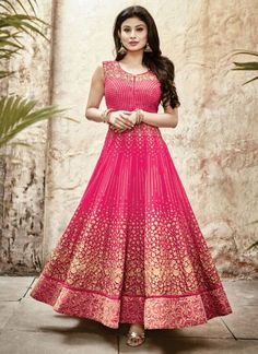 Pink Faux Georgette Designer Anarkali Salwar Suit #salwar #salwarsuit #salwarkameez #anarkalisuits #onlinesalwarshopping
