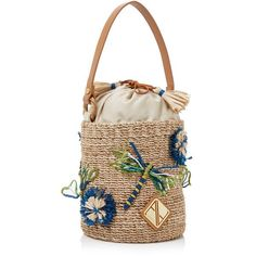 This **Aranáz** Dragonfly Mini Bucket Bag is rendered in abaca and features handmade dragon fly applique and raffia pom pom embellishments. Embellished Purses, Basket Bag, Purses And Handbags, Mini Handbags, Summer Bags, Cute Bags, Handmade Bags, My Bags, Straw Bag