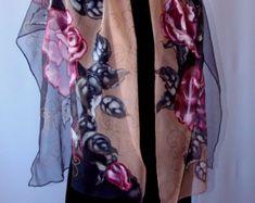 Natural silk shawl floral poppy violet hand by Studijakalla
