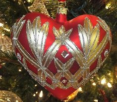 """Waterford 2014 Holiday Heirlooms Araglin 4.5"""" Heart Ornament New Waterford Box"""