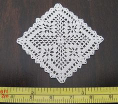 dollhouse miniature small square silk crochet doily, table cover, IGMA artisan | eBay