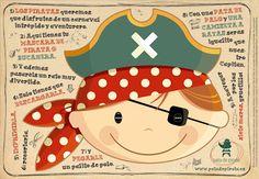 Ilustración, orlas, Invitaciones bautizo, comunión, cumpleaños, diseño grafico: CARNAVAL PIRATA #1
