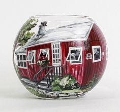 Custom order- Hand painted glass vase. House portrait. Personalized vase. Tea light Candle. Candy Holder. Wedding vase. Birthday gift.