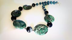 Green Lace Agate Necklace Grey Blue Agate OOAK by GECHELINE