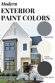 9 modern exterior paint color combinations that will give your home massive curb appeal. These modern colors are guaranteed to stand out on your block. Best Picture For Curb Appeal garage For Your Tas Best House Colors Exterior, Exterior Paint Color Combinations, House Paint Color Combination, Grey Exterior, Modern Farmhouse Exterior, House Paint Exterior, Exterior Design, Behr Exterior Paint Colors, House Exterior Color Schemes