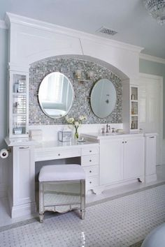 Flowers And Plants Flowers Breathe Life Into This Glamorous White Bathroom.  A Round Mirror From Buckingham Interiors + Design Hangs Above The Bu2026 |  Pinteresu2026 Part 62