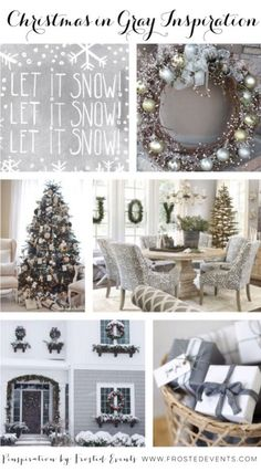 Love this soft gray Christmas inspiration, the gray christmas tree decorations, the wreath, the presents    via @frostedevents