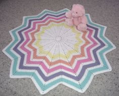 12 point Rainbow Ripple crochet blanket