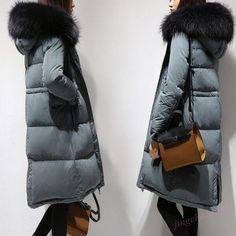 Korean Womens Coat Fur Hooded Long Trench 90% Down Jacket Outwear Loos Parka