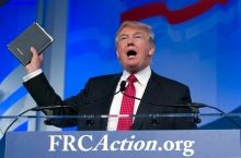 Republican presidential candidate Donald Trump holds up a Bible he says was given to him by his mother. (Credit: Kevin Wolf/AP Photo)  The United States is a very religious country, with nearly three-quarters of Americans identifying themselves as Christians. Evangelical Christians in particular, punch above their weight when it comes to politics. The current crop of candidates competing for the Republican