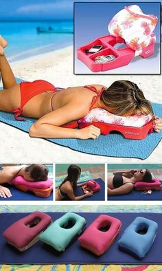 The perfect designed sun tanning pillow that would make the moment of summer more comfortable and that you can use for any of your desired position for a perfect sunbathing. It has also two internal pockets where you can safely put your cell phone, car keys and any of your necessary items while you use it. Price $34.99