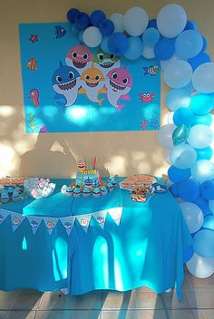 Baby boy birthday party ideas first summer kids 29 trendy Ideas Shark Birthday Cakes, Baby Boy 1st Birthday Party, 3rd Birthday Parties, Birthday Ideas, Holiday Party Themes, Party Themes For Boys, Party Ideas, Kids Water Party, First Birthdays