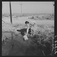 Mrs. Bartheloma dipping water from irrigation ditch for home use. Hauls drinking water from town four miles over rough road. Nyssa Heights, Malheur County, Oregon, 1939-  Dorothea Lange