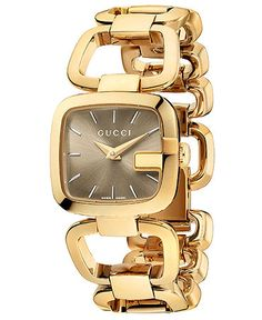 Lend ladylike luxury to your collection with this golden G-Gucci collection watch, by Gucci. | Gold-tone PVD finish stainless steel bracelet | Square case, 24x22mm, G-shaped bezel | Brown sun-brushed