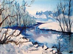 Paint and icy cold landscape using 3 colors of paint and 9x12 sheet of watercolor paper. See video also