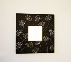Hand painted square wood framed mirror dark brown by CozyHomeStore, $22.50