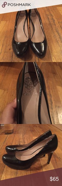 Black heels Black heel, shiny finish. Barely used, great condition, always willing to negotiate price! Vince Camuto Shoes Heels