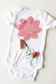 How to: appliqué doilies onto a onesie