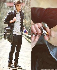 Bershka Leather Jacket, Zara Grey Hoodie, Sisley Skinny, Zara Brown, Celio Leather, Topman Silver
