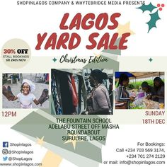 Are you an upcoming creative designer and looking at growing brand awareness?  Or you own a small business and want to test new products/showcase new arrivals & generate more revenue?? Register as a vendor & get 30% off stall booking in the #LagosYardSale Christmas Exhibition . Huge discounts from your favorite creative Nigerian brands Games activities  Raffle Draw  more.... For bookings: Call 2347035693174 2347012742129 or mail info@shopinlagos.com Early bird Registration lasts till…