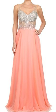 Coral Jeweled Deep Neckline See Through Midriff Chiffon Gown #coral #promdress