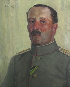 Drewes Militärmaler Offizier Portrait um 1900 Militaria ungedeutete Farben