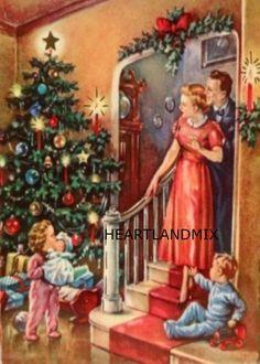 Christmas Morning Vintage Image Download Printable 300 DPI