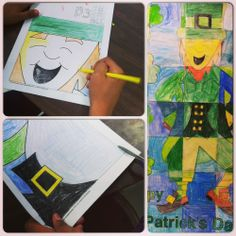"""What is more fun than a coloring sheet? How about a really BIG (32 inch x 56 inch)coloring sheet? This project lets all the students in your class color part of a large """"Happy St. Patrick's Day"""" poster--28 sections in all!"""