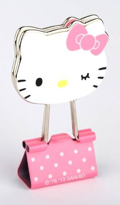 HK |❣| HELLO KITTY Die-Cut Binder Clips - soooooo very cute!
