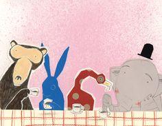 color, animals, monkey, rabbit, elephant, bird, texture