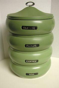 Vintage Stackable Canister Set Green Set of 4 by JulepTulip. , via Etsy.