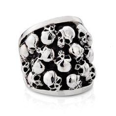 Punk Men's Titanium Doom Skulls Ring with Niello Stlye