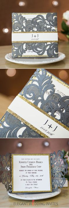 dark grey and glitter gold laser cut wedding invitations