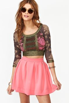 Scuba Skater Skirt in Pink This outfit. Pink Skater Skirt, High Waisted Skater Skirt, Skater Skirts, Love Fashion, Fashion Outfits, Fashion Design, Fashion Skirts, Fashion Pics, Dress Skirt