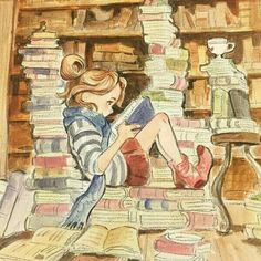 The Reader watercolor painting by Victoria Ying, in Steven Ng's Theme: Books, Libraries, and Reading Comic Art Gallery Room Girl Reading Book, Reading Art, I Love Books, Books To Read, My Books, Poster Print, Book Drawing, World Of Books, Lectures