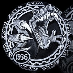 ANDY GONZALES HOBO NICKEL - T REX - 1936 BUFFALO NICKEL Hobo Nickel, Coin Art, Metal Clay Jewelry, Leather Carving, Metal Engraving, Old Coins, Coin Collecting, T Rex, Art Forms