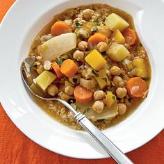 Chickpea and Winter Vegetable Stew | Harissa is a fiery spice paste used in Moroccan cooking. Look for it at Middle Eastern markets.