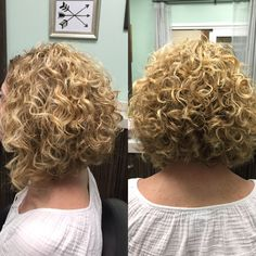 Curly Aline haircut, short curly hair, Deva Curl, Deva YES! Short Permed Hair, Curly Hair Cuts, Curly Bob Hairstyles, Wavy Hair, Short Hair Cuts, Curly Hair Styles, Curly Short, Layered Hairstyles, Hairstyles 2018