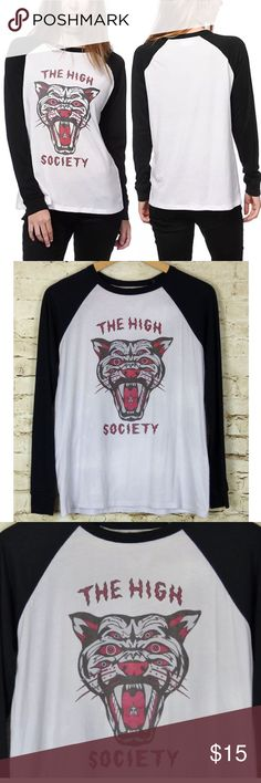 "Obey High Society Tiger White & Black Raglan Top Worn once, Obey ""The High Society Tiger"" Black & White Raglan Baseball Tee in size Medium. Soft cotton. 48% Polyester, 52% Cotton. Measurements: Armpit-to-Armpit: 18 ½. Full Bust: 37. Collar/Shoulder point to bottom hem: 26 ½. Side Seam: 16 ¾. Sleeve Length: 28. Sleeve Full Opening: 6. Hem Full Opening: 42. Obey Tops Tees - Long Sleeve"