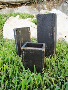 Wood vase centerpiece rustic -distressed wood-black night