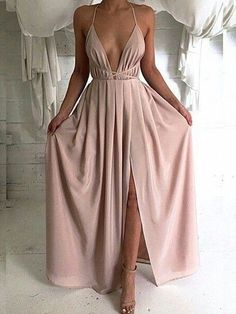 Sexy V-Neck Chiffon Prom Dresses Side Slit Floor Length Evening Gowns_Prom Dresses Dresses_Special Occasion Dresses_Buy High Quality Dresses from Dress Factory Nude Maxi Dresses, Sexy Dresses, Pretty Dresses, Beautiful Dresses, Nude Dress, Pink Dress, Dresses 2016, Pink Maxi, Dresses Uk