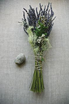 Natural Woodland Brides Wedding Bouquet of French Lavender, Cedar, Lichens and Moss Tied with Natural Hemp Twine