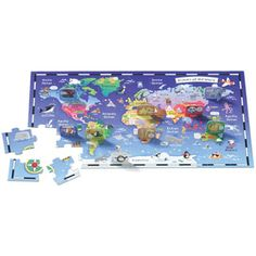 $14.99 - Question: Where do you want to go? Answer: Around the world in one puzzle! •  Tour the planet and discover new places and faces while you piece together this fun learning puzzle. •  Match animal characters with their homes around the world. •  Builds geography, vocabulary and reading skills.r •  Contains 45 beautiful puzzle pieces Like puzzles? See ?em all here!