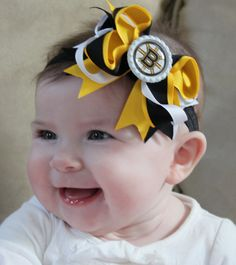 3ed0b705731 Boutique Baby Girls Layered Boston Bruins Bottle Cap Center Bow on Black  Elastic Headband...Perfect for Boston Bruins