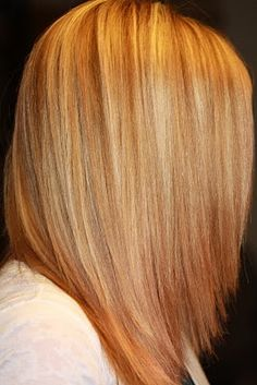 Strawberry blond hair with light blond highlights :)