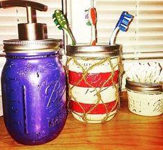 USA Patriotic Mason Jar Bathroom Set  | eBay