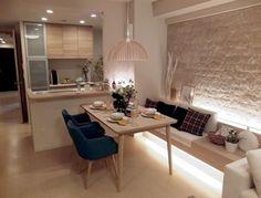Sala de Almoço / Jantar para inspirar ✨ Ambiente minimalista onde a iluminação indireta dá muito conforto e aconchego Fonte: https://goo.gl/2HNvup